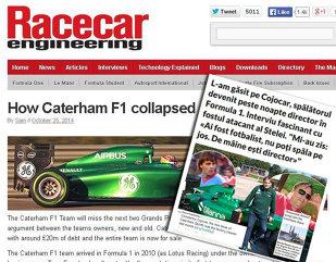 Cea mai tare revistă de tehnologie motorsport din lume preia interviul ProSport cu fostul stelist Cojocaru. Caterham, echipa îngrijitorului-director român, va rata următoarele două curse din F1