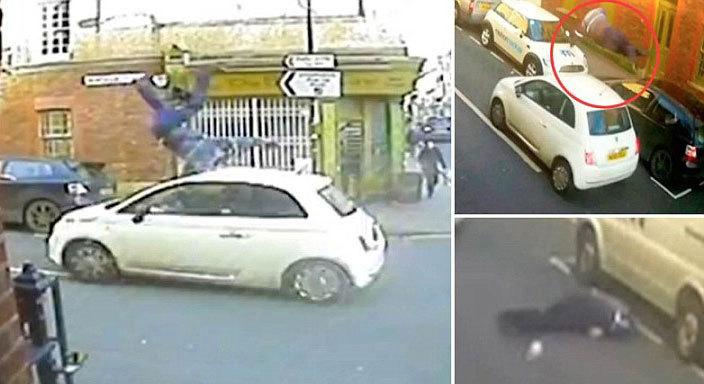 Imagini şocante cu un pieton lovit de o maşină şi aruncat 5 metri în aer! Şoferul a fugit de la locul accidentului. VIDEO