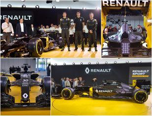 FOTO | Renault revine cu echipă de uzină în Formula 1. Monopostul RS16 a fost prezentat la Paris împreună cu cei doi piloţi: Magnussen şi Palmer