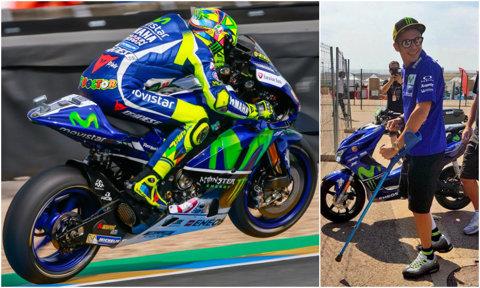 """În cârje, Valentino Rossi a primit acceptul să concureze la Aragon. """"Il Dottore"""" revine la 3 săptămâni după ce şi-a rupt piciorul"""