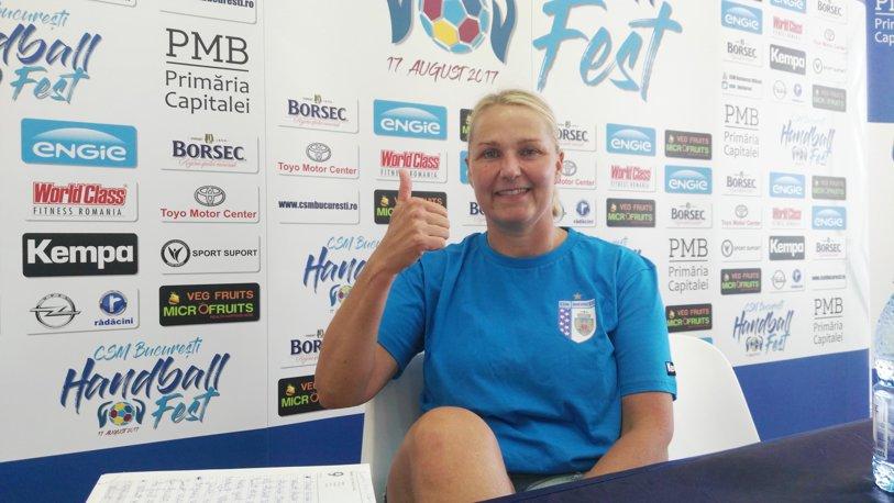 """Helle Thomsen, înainte de CSM Bucureşti - Krim Ljubljana: """"Pot spune că este un Dream Team, avem o echipă foarte bună"""". Situaţia extremei Majda Mehmedovic şi ce a găsit Vlad Caba la echipa de băieţi"""