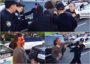 VIDEO | Momentul incredibil în care ŞAPTE poliţişti încearcă să doboare un fost campion olimpic la lupte, după ce a fost oprit în trafic!