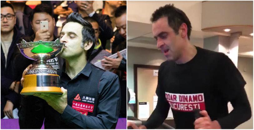 """""""Doar Dinamo Bucureşti"""". Ronnie O'Sullivan a vorbit pentru prima dată despre tricoul primit în România şi despre clipul devenit viral pe internet. """"Chiar şi eu am fost surprins!"""""""
