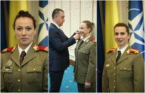 IMAGINEA ZILEI   Trei fete de aur ale sportului românesc, moment emoţionant la sediul MApN, sub privirile colonelului Petrea