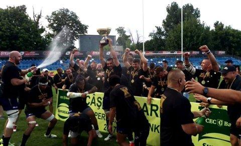 """Timişoara Saracens, al treilea titlu naţional consecutiv la rugby, al cincilea din istorie. """"Sarazinii"""" s-au impus cu 21-15 în finala cu CSM Ştiinţa Baia Mare"""
