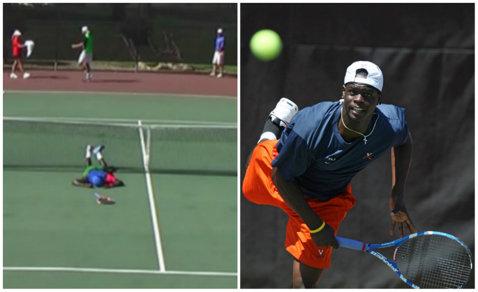 VIDEO | Epic fail. Un tenismen a vrut să facă o acrobaţie la fileu, dar a căzut în cap