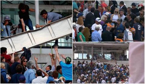Panică la Roland Garros! O parte din acoperişul centralului s-a prăbuşit peste spectatori. Meciul Tsonga - Nishikori, suspendat | FOTO şi VIDEO