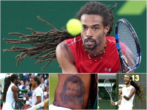 """A detonat bomba la Wimbledon după ce l-a trimis acasă pe Rafa Nadal. """"Dreddy"""" Brown este jumătate german, jumătate jamaican, nu s-a mai tuns de 19 ani, are un piercing în limbă şi un tatuaj imens cu chipul tatălui său"""