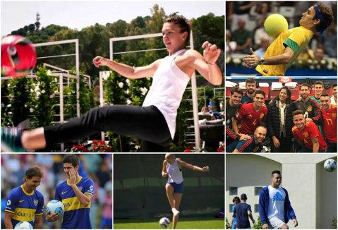 Primul 11 al tenisului. De la #1 Halep, la #1 Federer, aşii sportului alb arată că pot vrăji şi ei balonul ca Maradona, Pele sau CR7