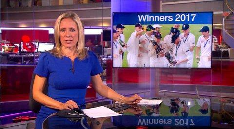 """Ştiri sportive cu """"pătrăţel roşu"""". VIDEO Imagini şocante difuzate involuntar de BBC. Ce se întâmplă în spatele prezentatoarei"""