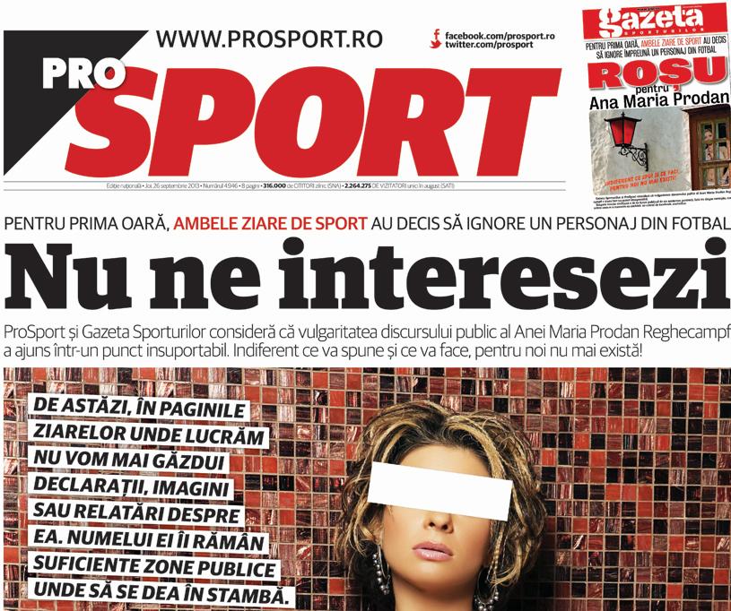 Indiferent ce va spune şi ce va face, pentru noi nu mai există! În premieră pentru presa din România, ambele ziare de sport au decis să ignore un personaj din fotbal