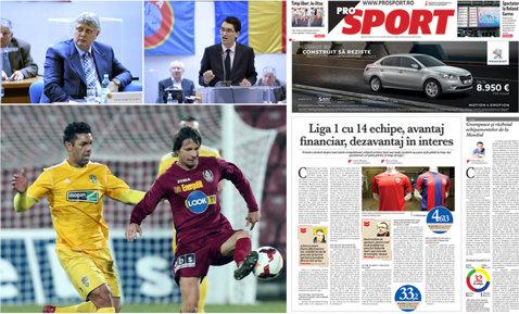 Marţi, în săptămânalul ProSport | Liga 1 cu 14 echipe: avantaj financiar, dezavantaj în interes