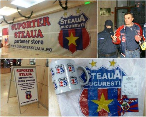 Armata obligă Steaua să îşi schimbe numele şi stema, dar suporterii încă produc bani de pe urma emblemei. FOTO | Magazinul lui Gheorghe Mustaţă vinde produse cu însemnele care aparţin CSA Steaua
