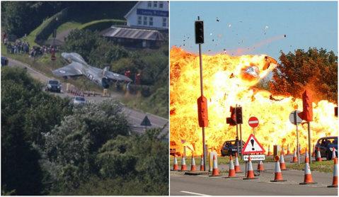 Accident şocant în Anglia! Şapte persoane, printre care doi fotbalişti, au fost ucise după ce un avion de vânătoare s-a prăbuşit pe şosea! Imagini de la faţa locului