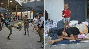 FOTOREPORTAJ | De la ultima bucată de pâine, la fotbal în gară. Cum trăiesc refugiaţii în gara Keleti din Budapesta