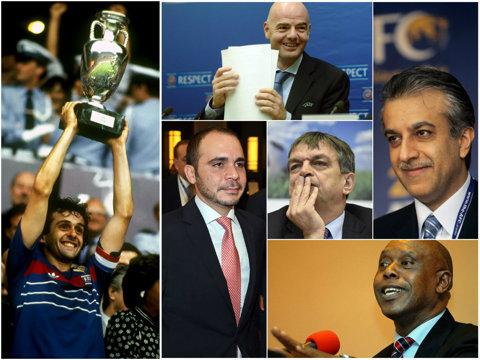 PORTRETE | Cine sunt candidaţii la şefia FIFA. Prinţul securist, şeicul anchetator, avocatul oportunist, diplomatul ratat şi parvenitul tranziţiei sud-africane sunt opţiunile rămase după eliminarea lui Platini. Burleanu a votat cu securistul