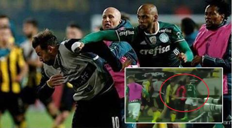 Scandal monstru cu Felipe Melo în prim-plan! VIDEO Adversarii au vrut să-l scoată de pe teren şi au sărit să-l bată cu steagul de la colţul terenului. VIDEO Violenţele au continuat în tribune