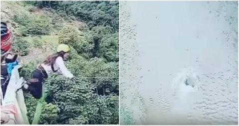 """A scăpat printr-un miracol. VIDEO O tânără a vrut să facă """"puenting"""", dar a sărit în gol de pe pod. Nu şi-a rupt nici un os"""