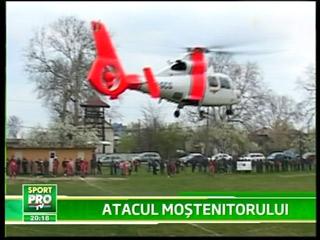 VIDEO / Meci de fotbal din România, întrerupt de aterizarea unui elicopter