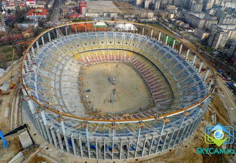 """FOTO de senzaţie! Imagini panoramice cu """"Naţional Arena"""" după începerea lucrărilor la acoperiş"""