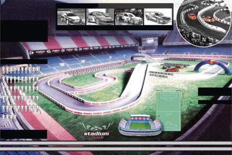 Cum se mai fac bani în Spania: Stadion transformat în circuit de raliuri