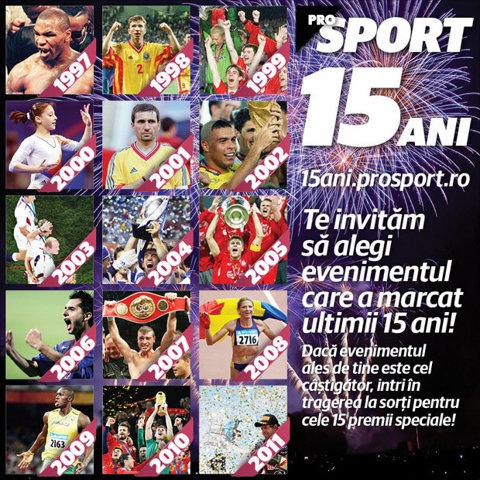 ProSport 15 ani! Alege cel mai important eveniment sportiv din ultimi 15 ani si castiga!