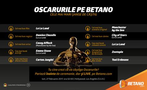 (P) Oscarurile 2017 sunt pe Betano.com. Emoţii pentru România