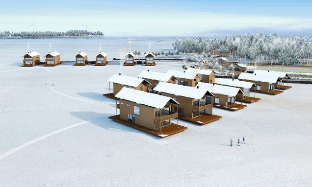 Stilul architectural al satului a fost inspirit de adăposturile din nord, construite din bărci de lemn, cu acoperişuri negre, înclinate.