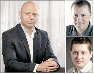 """Proiectul îi are drept cofondatori pe Radu Georgescu (foto st.), fondatorul Gecad, şi Andrei PitiŞ (dr. sus), actualul şef al Asociaţiei Naţionale a Industriei de Software şi Servicii, şi este gestionat de Bogdan Iordache (dr. jos), un tânăr antreprenor care a organizat în ultimii ani conferinţa destinată start-up-urilor """"How to Web"""""""