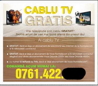 Romtelecom oferă cablu TV gratis în oraşe