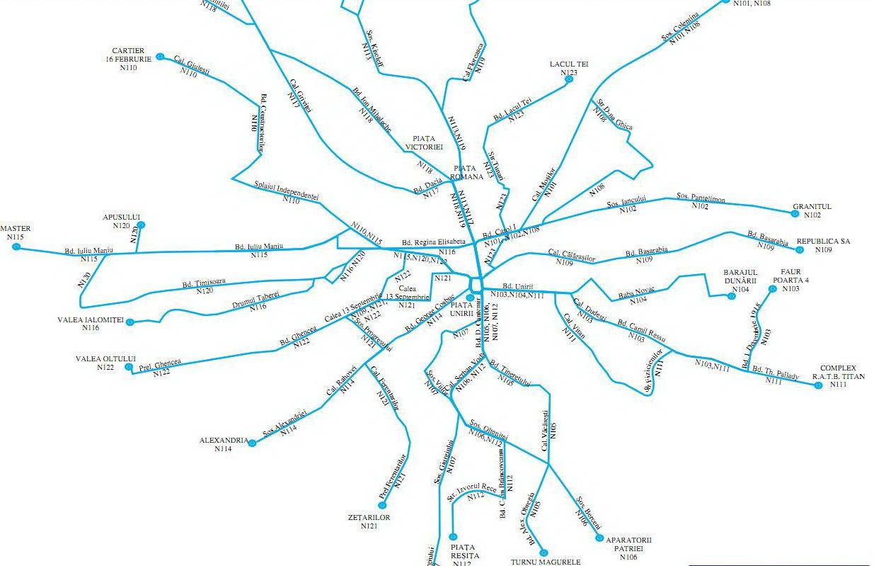 Harta Traseelor De Noapte Ratb