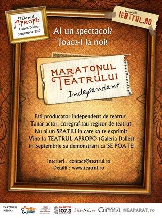 Se anunţă Maratonul Teatrului Independent