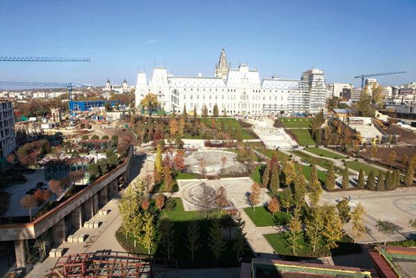 Clădirile din proiectul Palas sunt legate de Palatul Culturii, un simbol al Iaşiului, printr-un parc de 50.000 mp.