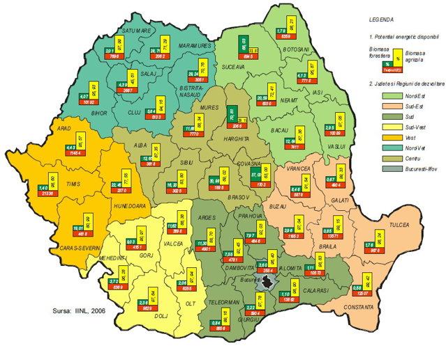 Harta biomasei: Care sunt cele mai bune zone pentru a face energie din resturi de lemn sau deşeuri agricole?