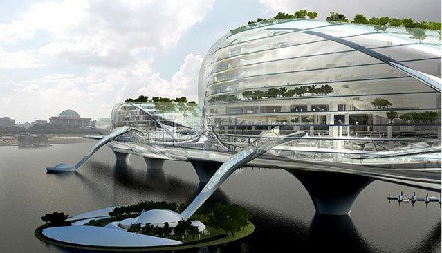 Seoul: Clădirea Paik Name June Media Bridge va face legătura între fabrica Dang-Li şi Cladirea Adunarii Naţionale şi va primi energie doar de la soare. Construcţia clădirii va începe în 2012.