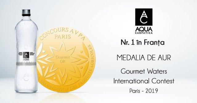 AQUA Carpatica a fost premiată în Franţa cu medalia de aur în categoria apelor minerale naturale carbogazoase