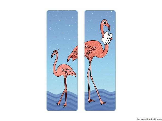 Semn de carte ilustrat cu flamingo, Andreea Illustration, fabricat în Bucureşti, 15 lei