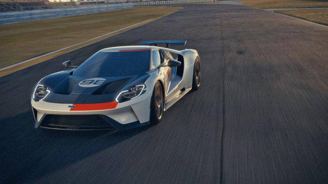 Ford Performance, responsabil de modelele sport şi supersport ale americanilor, au anunţat ediţia Ford GT Heritage Edition, inspirată de automobilul care în 1966 câştiga Daytona. Cum arată? GALERIE FOTO