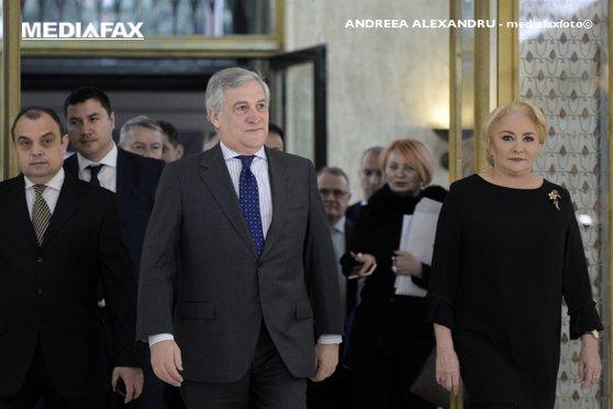 Imaginea articolului Şedinţă comună cu liderii PE, la Palatul Victoria   Dăncilă: România, pregătită pentru a prelua preşedinţia Consiliului UE/ Tajani: Drepturile cetăţenilor europeni din Marea Britanie, printre priorităţi