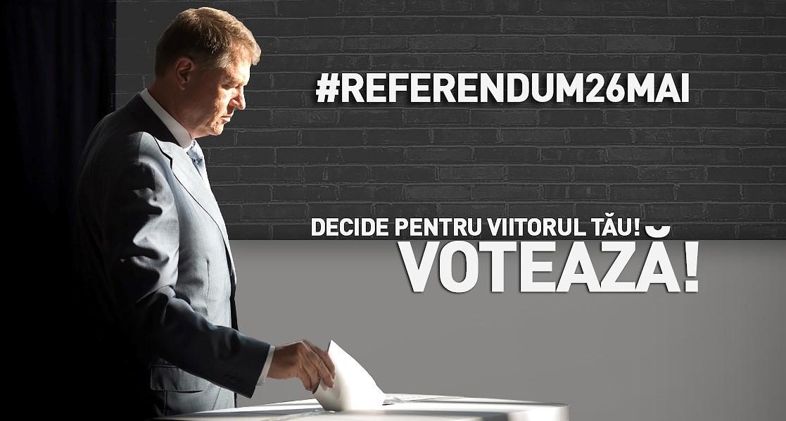 Klaus Iohannis îi îndeamnă pe români să voteze la referendumul pe justiţie din 26 mai