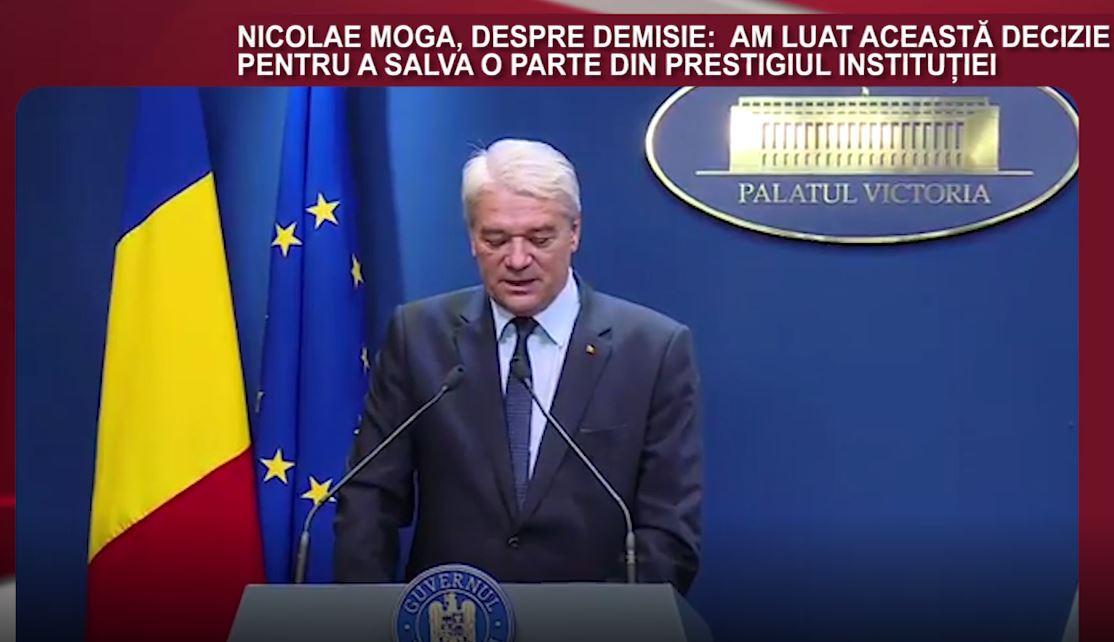 DECLARAŢIA ZILEI. Nicolae Moga, despre demisie: Am luat această decizie pentru a salva o parte din prestigiul instituţiei