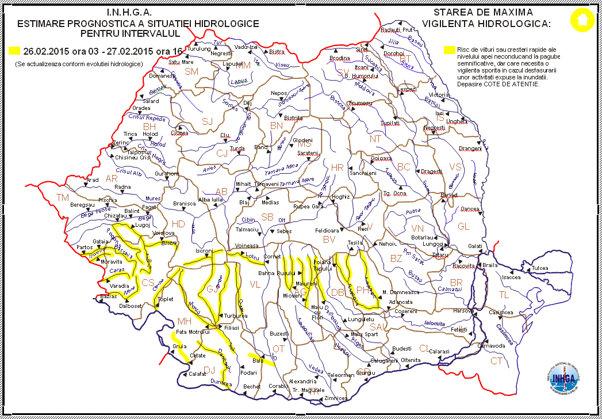 Avertizare Cod Galben De Inundaţii Pe Rauri Din 11 Judeţe Harta