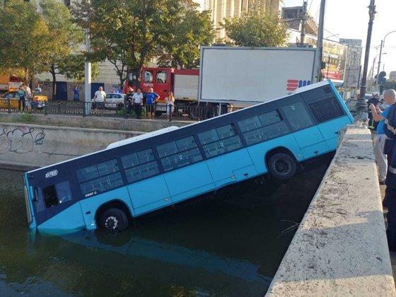 Imaginea articolului BREAKING Accident în Capitală: Un autobuz STB a căzut în Dâmboviţa | FOTO