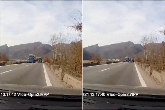 """Imaginea articolului Un şofer de camion, filmat într-o depăşire extrem de riscantă pe Valea Oltului: """"Ia uite, mamăăă... Doamne, Dumnezeule"""""""