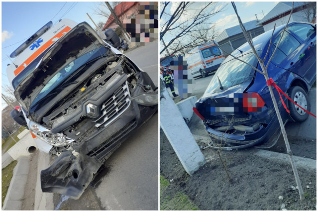 Ambulanţă cu pacient, implicată într-un accident rutier. Şoferul autoutilitarei a fost rănit|EpicNews