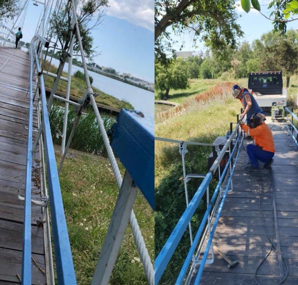 Un pod dintr-un parc din Constanţa, reparat la solicitarea localnicilor