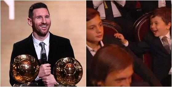 Imaginea articolului VIDEO. Reacţia adorabilă a fiului lui Messi, după ce tatăl său a stabilit un nou record, câştigând pentru a şasea oară Balonul de Aur
