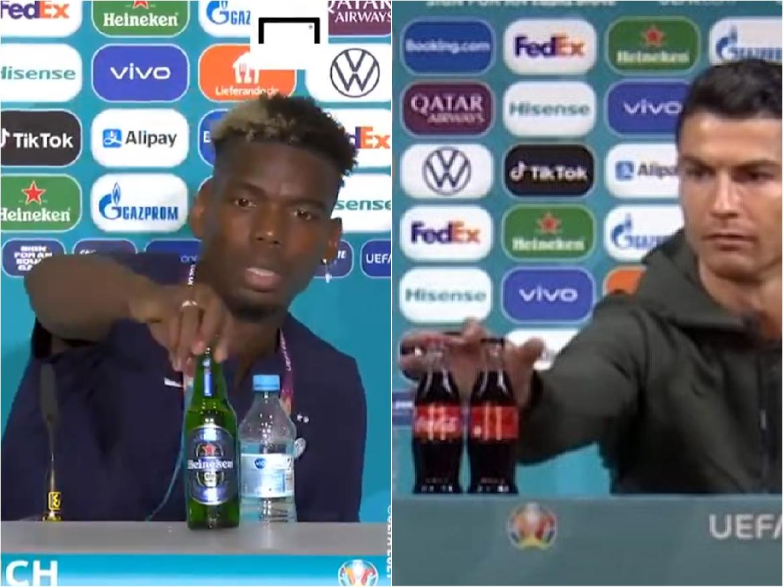 Gestul lui Ronaldo a fost imitat. Paul Pogba a dat la parte o sticlă de bere. Explicaţia gestului