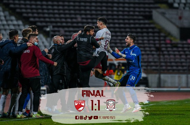 Liga 1 la fotbal. Dinamo, egalată dramatic pe Rapid, în derby-ul etapei a 13-a. Incidente între suporteri EpicNews