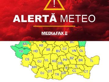Ploile nu se opresc. ANM a emis o nouă avertizare meteo în aproape toată ţara